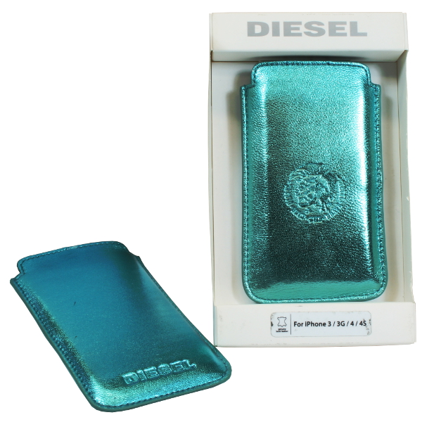Diesel Metallic-grün Schutzhülle Handytasche Cover für Smartphone aus Lamm Leder