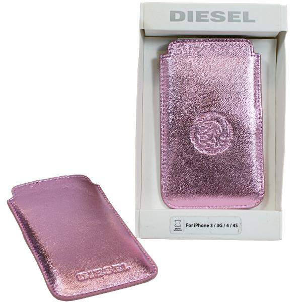 Diesel Metallic-pink Handytasche Cover aus Lamm Leder