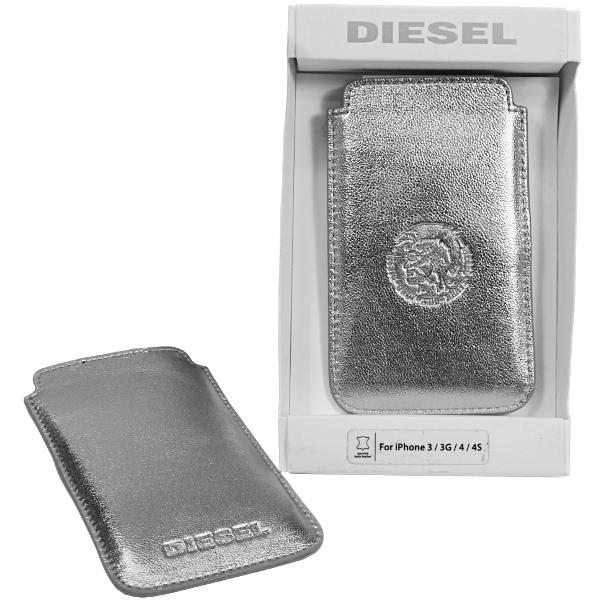 Diesel Metallic Schutzhülle Handytasche Cover für Smartphone aus Lamm Leder