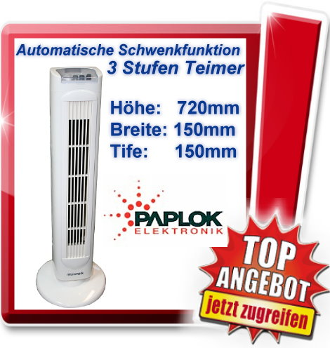 micromark standventilator ventilator 3 stufen mit timer l fter turmventilator ebay. Black Bedroom Furniture Sets. Home Design Ideas