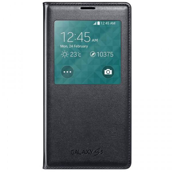 Samsung S View FlipCover mit Sichtfenster   Schutzhülle Handytasche Cover Samsung Galaxy S5 - schwarz  / 8806086103503
