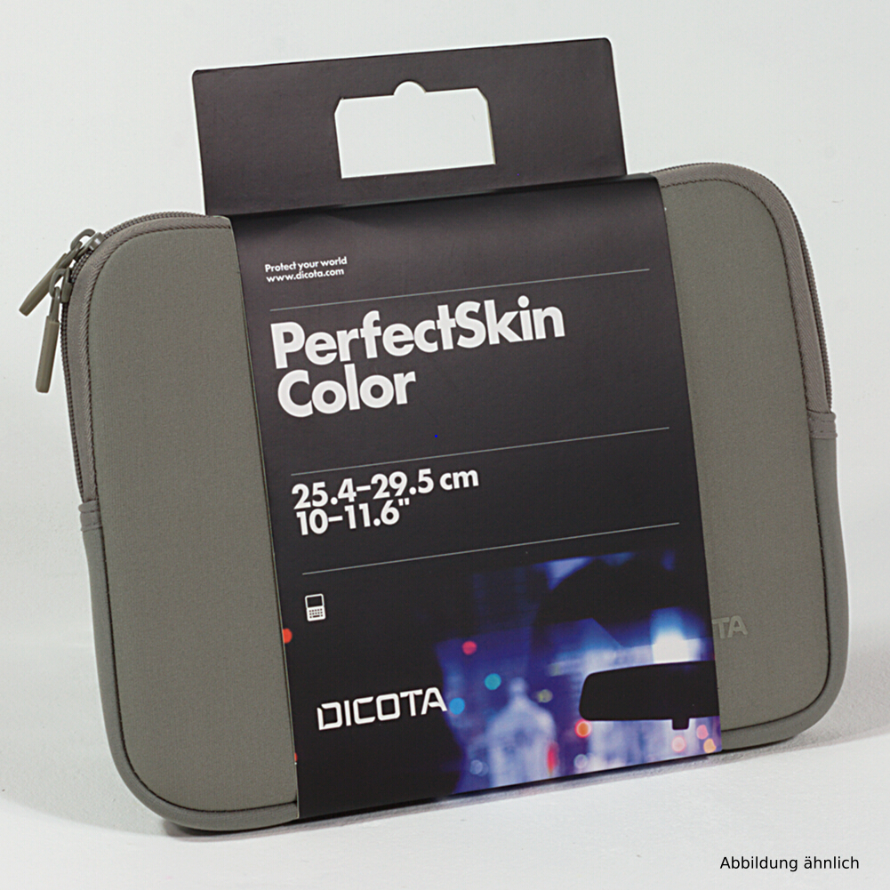 Dicota Notebooktasche PerfectSkin 10-11.6 Zoll Tasche Grau 30036 für Notebooks iPad