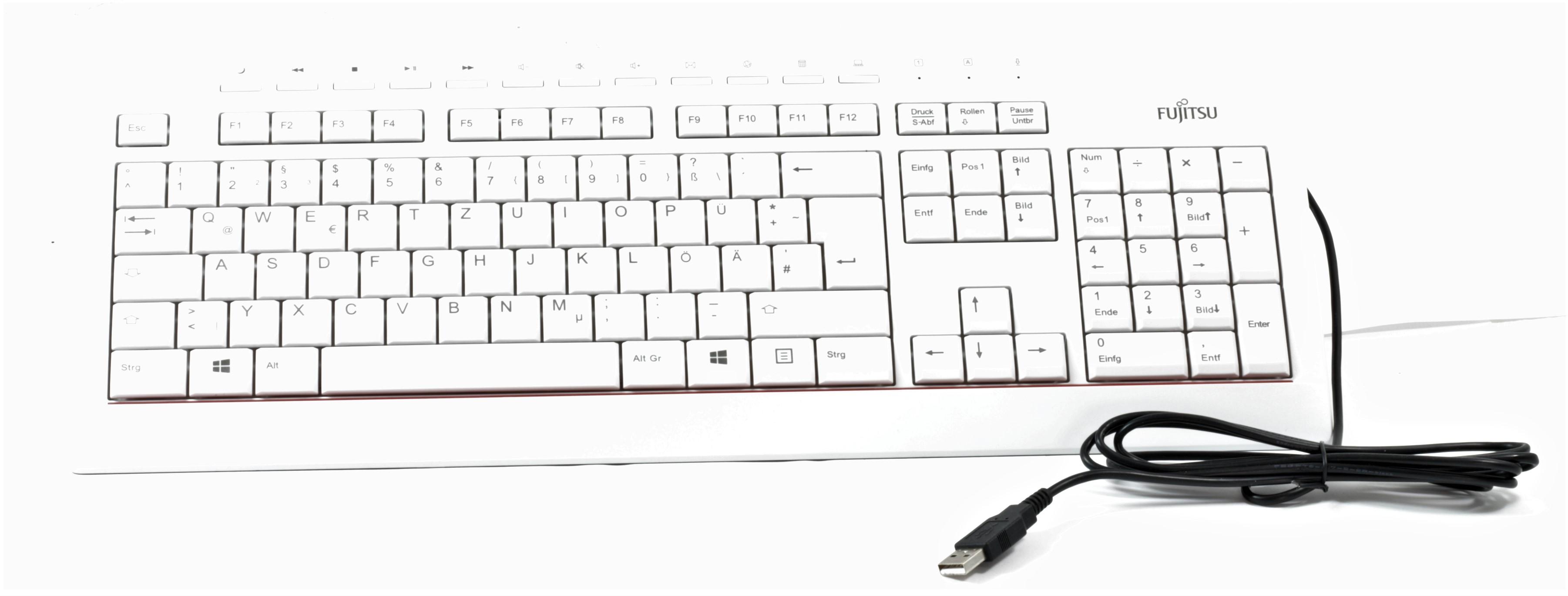 Fujitsu Tastatur KB521 DE USB Deutsch weiß/grau kabelgebunden QWERTZ